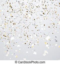 goldener hintergrund, fliegendes, einige, fokus, konfetti, sauber, weißes, feiertag, heraus