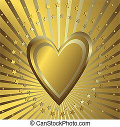 Goldener Hintergrund mit Herz