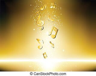 Goldener Hintergrund mit Musiknoten und Sternen.