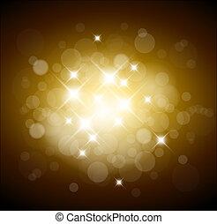 Goldener Hintergrund mit weißen Lichtern