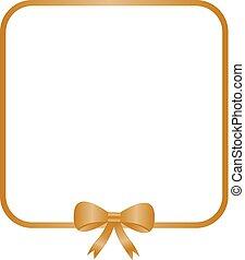 Goldener Quadratrahmen mit dekorativem goldenem Bogen.