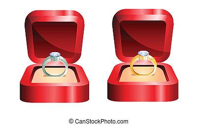 Goldener Ring und Silberring.