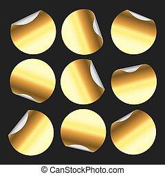 Goldener Rundaufkleber. Zirkelaufkleber, kreisförmige Etikettenabzeichen und goldene Preisschilde emblem isolierten Vektorsatz