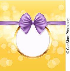 Goldener runder Rahmen mit violetten Schleifen mit dekorativem Hintergrund. Vector Illustration