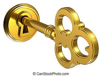 Goldener Schlüssel im Schlüsselloch