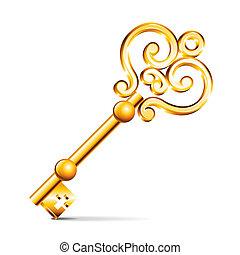 Goldener Schlüssel, isoliert auf weißem Vektor.