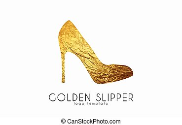 Goldener Schuh. Prinzessin Pantoffel. Elegantes Logo-Design. Modelogo