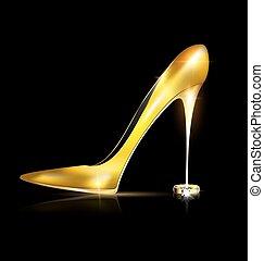 Goldener Schuh und Ring.