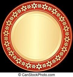 Goldener und roter Rahmen