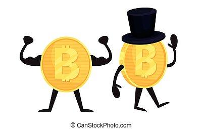 goldenes, ausstellung, zeichen, vektor, satz, muskeln, humanized, bitcoin, winkende , hand