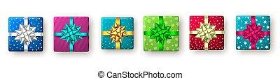 goldenes, blaues, geschenk, grün, geschenkband, kasten, bow., rotes