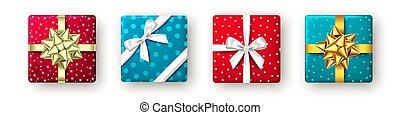 goldenes, bow., geschenkschachtel, rotes , geschenkband, blaues