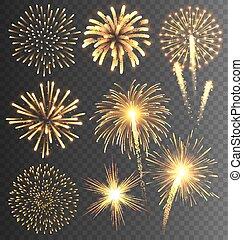 goldenes, firework, gruß, burst., festlicher