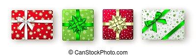 goldenes, geschenkband, rotes , bow., geschenkschachtel, grün