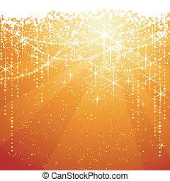 goldenes, groß, occasions., sternen, festlicher, funkeln, jahre, hintergrund., hintergrund, neaw, oder, rotes , weihnachten