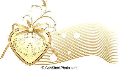 Goldenes Herz mit Bogen