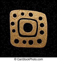 goldenes, illustration., gold, stammes-, freigestellt, hand, hintergrund., vektor, schwarz, ethnisch, gezeichnet, element