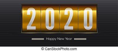 goldenes, jahr, zählen, karten., countdown, uhr, weinlese, onset, hintergrund., schwarz, retro, schablone, neu , weihnachten, 3d, moment, illustration., gruß, vektor, mechanisch, 2020., oder