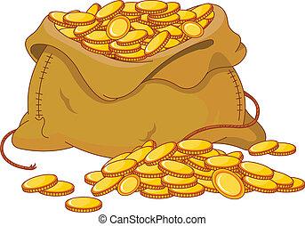 goldenes, muenze, voll, tasche