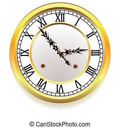 goldenes, stil, retro, clock.