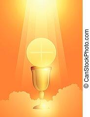 goldenes, symbol, kelch, eucharistie, gastgeber