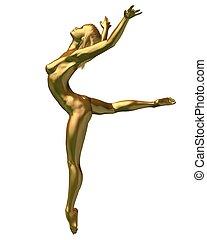 goldenes, weiblicher akt, -, 3, statue