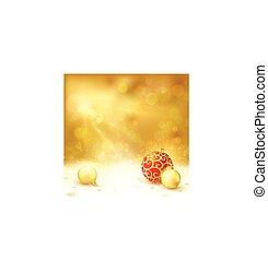 Goldenes Weihnachtsdesign mit roten und goldenen Baubles