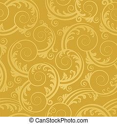 goldenes, wirbelt, tapete, seamless