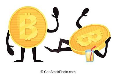goldenes, zeichen, vektor, saft, trinken, satz, humanized, bitcoin, winkende , hand
