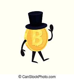 goldenes, zylinder, finanz, wohnung, geld, hand., zeichen, gehen, glänzend, bitcoin, winkende , vektor, design, coin., digital, schwarz, karikatur, humanized, concept., hut