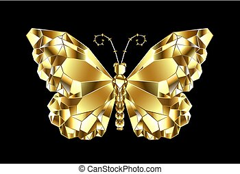 Golder polygonaler Schmetterling.