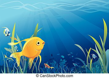 Goldfisch, Unterwasserleben - Vektor