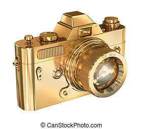 Goldfotokamera auf weißem Hintergrund.