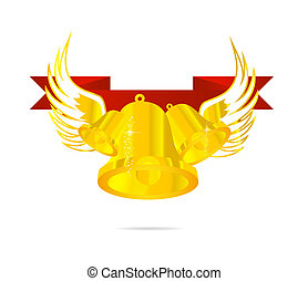 Goldglocke und rotes Bandsymbol.