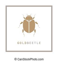 Goldkäfer in einem Rahmen-Vektor-Darstellungs Emblem.