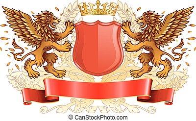 Goldlöwen mit Schild Emblem.