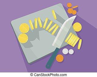 Goldmünzen, die das Brett zerschneiden.