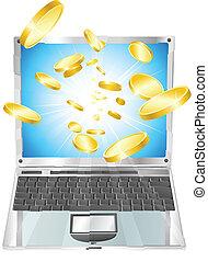 Goldmünzen fliegen aus dem Laptop-Computer