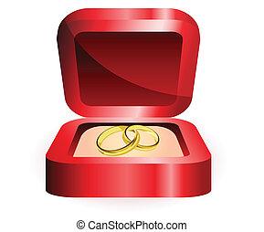Goldring in roter Schachtel.
