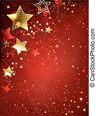 Goldstern auf einem roten Hintergrund