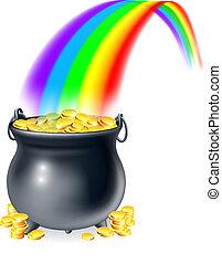 Goldtöpfe am Ende des Regens