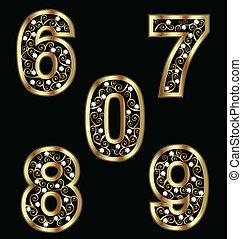 Goldzahlen mit verdrahteten Ornamenten.