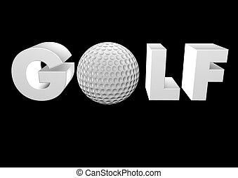 Golf 3D auf schwarzem Render.