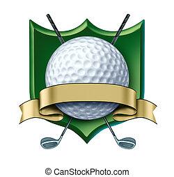 Golf Award Crest mit leerem Gold Label.