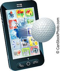Golfball fliegt aus dem Handy