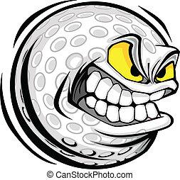 Golfball, Gesicht zum Zeichentrickvektor