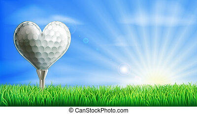 Golfball mit Herzform