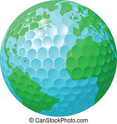 Golfball-Weltkugel-Konzept