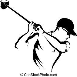 Golfer schleicht sich ab