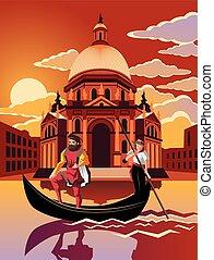 Gondelfahrt durch Venedig bei Sonnenuntergang.